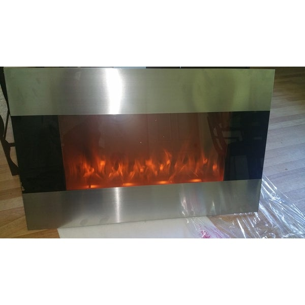Stainless Steel Electric Fireplace With Wall Mount Remote By ...
