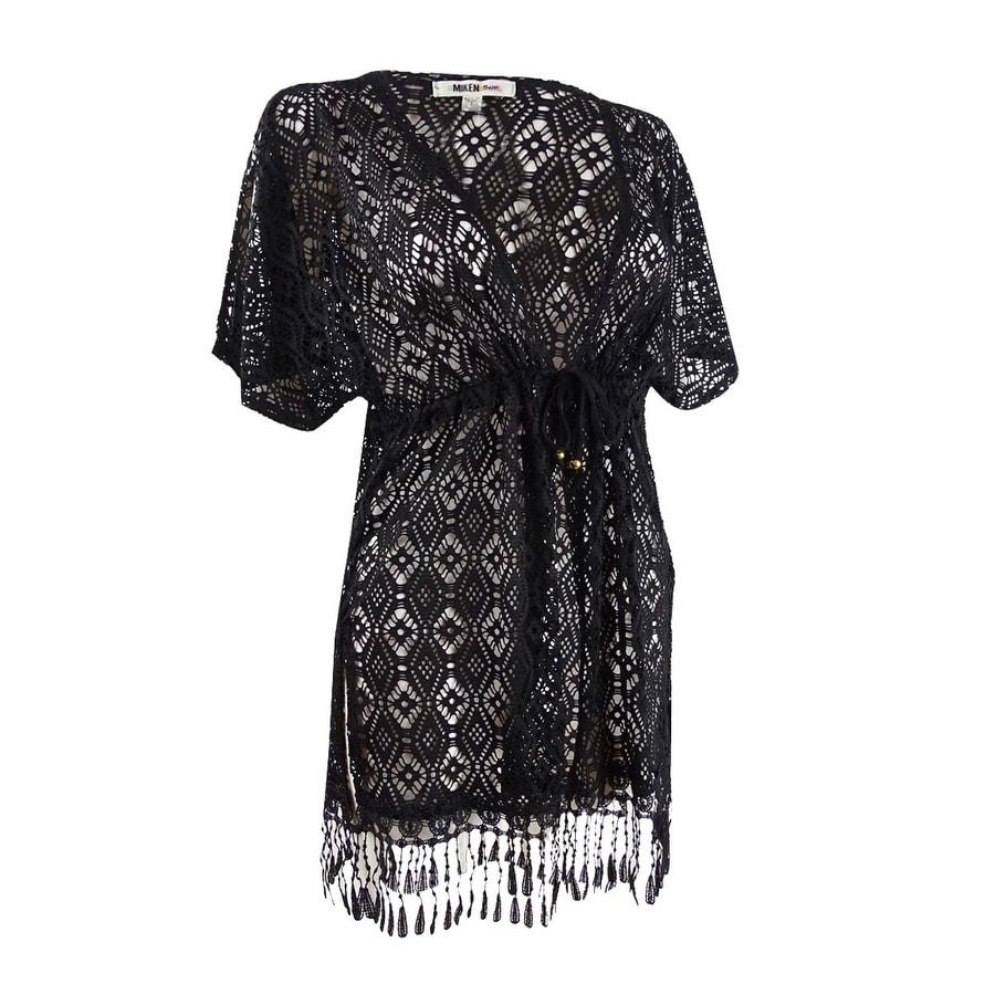 Miken Womens Crochet Kimono Swim Top Cover-Up