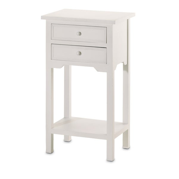 Shop Double Drawer Side Table White Free Shipping Today