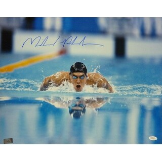 Michael Phelps Autographed 2008 Olympics 16x20 Photo (Front Wide View) JSA