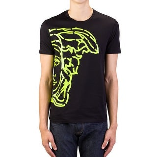 Versace Collection Men's Cotton Medusa Logo Graphic Crewneck T-Shirt Black Green