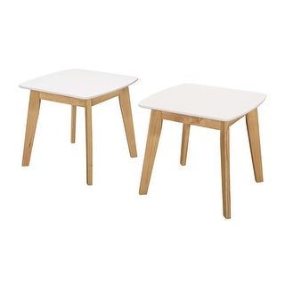 Offex Retro Modern Solid Wood Legs and Painted MDF Top End Table, Set of 2 - White/Natural