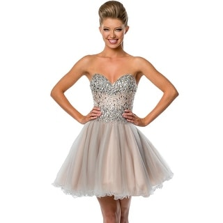 Terani Couture Embellished Strapless Semi-Formal Dress