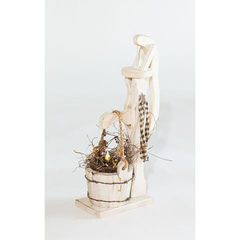 Primitive Pine Decorative Water Pump with Flameless Candle