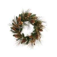 "26"" Artificial Gold Glitter Pine Cone and Berry Christmas Wreath"