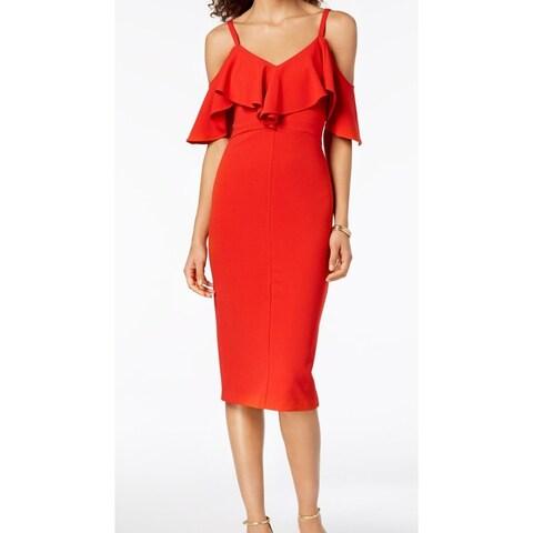 Rachel Rachel Roy Red Womens Size 4 Cold-Shoulder Sheath Dress