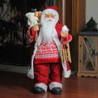 "24"" Country Twist Standing Santa Claus Christmas Figure with Snow Sled and Gift Sack - RED"