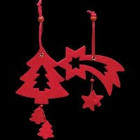 Club Pack of 18 Elegant Red Tree And Shooting Star Felt Ornaments