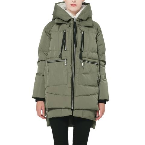 OROLAY Women's Jacket Green Large L Oversize Faux-Shearling Outdoor