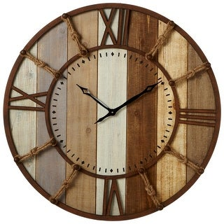 32 Rustic Wooden Slat Round Wall Clock with Knotted Rope Numbers - brown