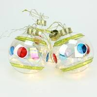 Set of 4 Battery Operated Stripe and Dot Glass Ball LED Lighted Christmas Ornaments - GOLD