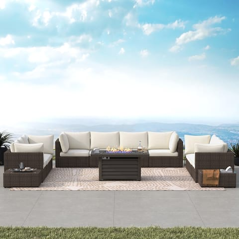 Corvus Kipling 13-piece Wicker Patio Sectional Deep Seating Set with Fire Pit