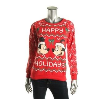 Disney Womens Juniors Happy Holidays Crewneck Sweater Graphic Long Sleeves