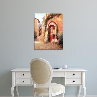Easy Art Prints Haixia Liu's 'Eze Village Café, France' Premium Canvas Art