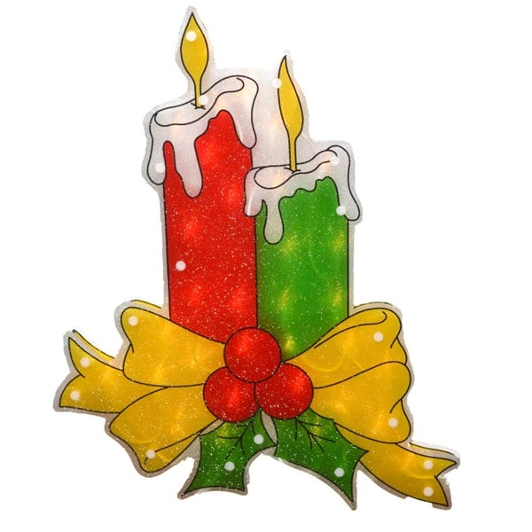 """17"""" Lighted Double-Sided Shimmering Candle Christmas Window Silhouette - RED"""