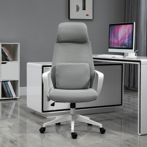 Vinsetto Office Computer Swivel Chair with Massage Lumbar Cushion, Adjustable Seat & Headrest, Rocking Function - 24.5*23.5*48.5