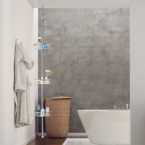 Gymax 3 Tier Corner Shower Caddy Stainless Steel Adjule Bathroom Storage Shelf