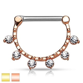 Hanging Crystals Line Beaded Surgical Steel Nipple Clicker - 14GA (Sold Ind.)