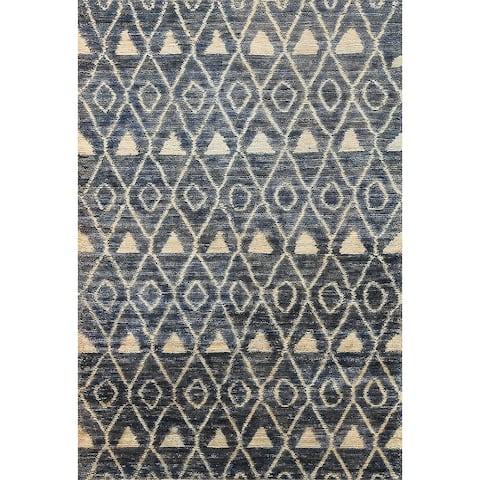 "Tribal Contemporary Moroccan Oriental Area Rug Handmade Office Carpet - 5'6"" x 7'7"""