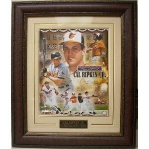 Cal Ripken Jr signed Baltimore Orioles Collage 16x20 Custom Leather Framed HOF 2007