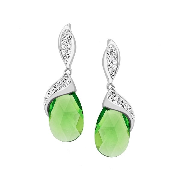 Crystaluxe Drop Earrings with Peridot Swarovski Crystals in Sterling Silver - Green
