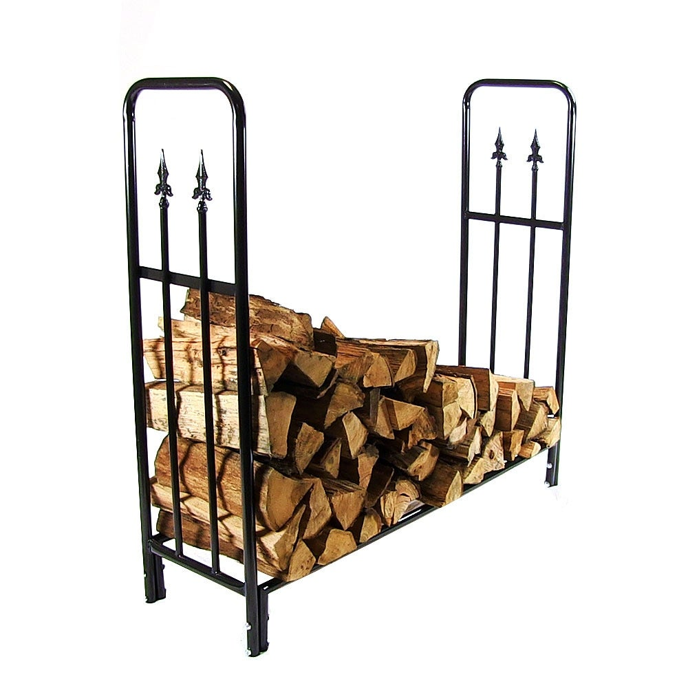 Sunnydaze Decorative Firewood Log Rack - Multiple Sizes - Black - Thumbnail 0