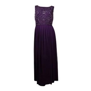 Xscape Women's Bead Embellished Bodice Pleated Chiffon Dress - 16W