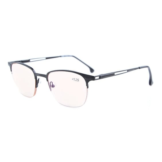 3d3c9d218ca4 Shop Eyekepper Quality Spring Hinges Half-Rim Reading Glasses Men Women  Amber Tinted Lenses Black+3.5 - Free Shipping On Orders Over  45 -  Overstock - ...