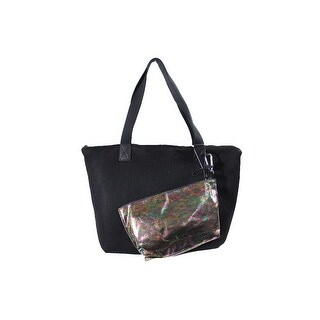 Ideology Black Multi Perforated Tote With Pouch OS