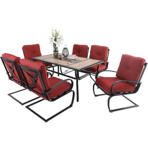 PHI VILLA 7 pcs Patio Dining Set 6 Piece Cushioned Spring Motion Dining Chair with Armrest & Patio Dining Table