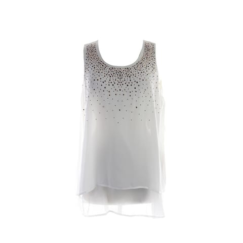 Alfani Plus Size Nw Cloud Sleeveless Embellished Front Tiered Top 1X