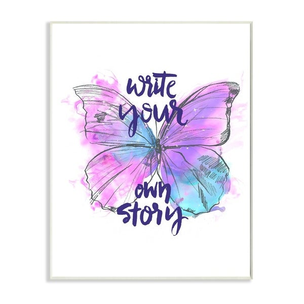 Stupell Industries Write Your Story Phrase Butterfly Wings Purple Design Wood Wall Art. Opens flyout.
