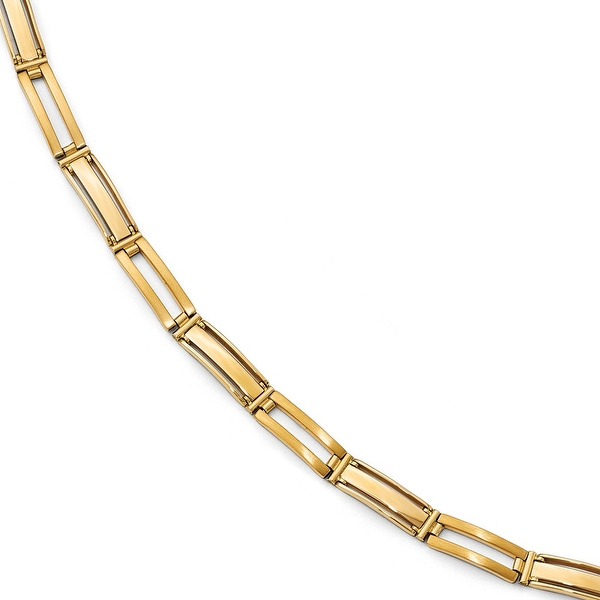 Italian 14k Gold Polished and Brushed Men's Link Bracelet - 8 inches