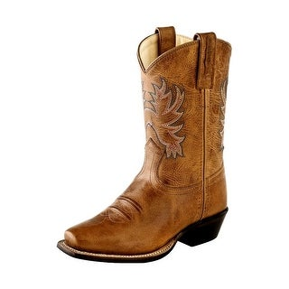 Old West Cowboy Boots Boys Girls Kids Goodyear Square Toe Tan Fry 8202