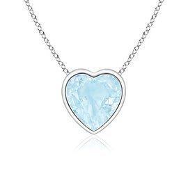 Bezel Set Solitaire Heart Shaped Aquamarine Pendant in 14K White Gold(5mm Aquamarine)