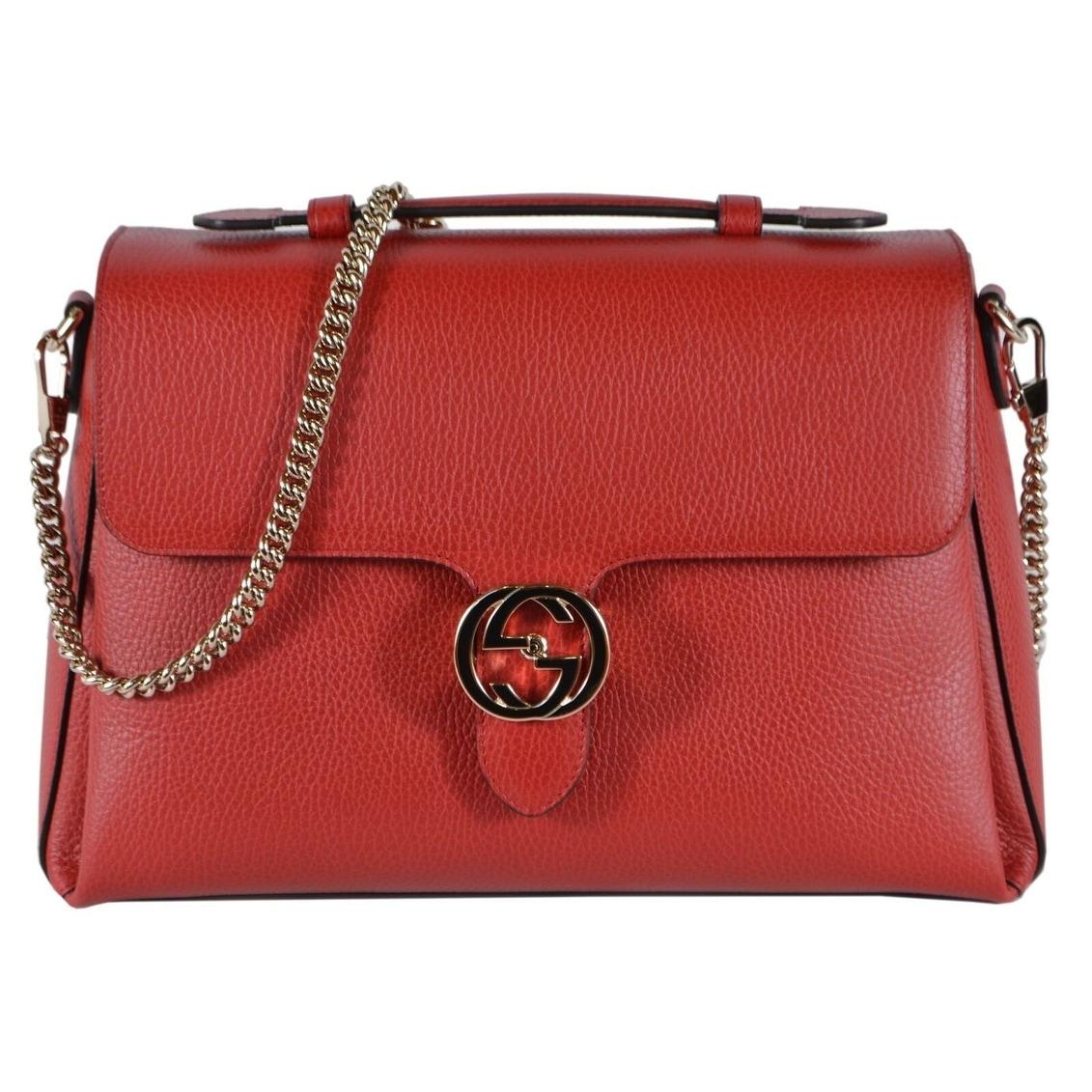 Gucci Women\u0027s Red Leather 510306 Large Interlocking GG Purse Shoulder Bag