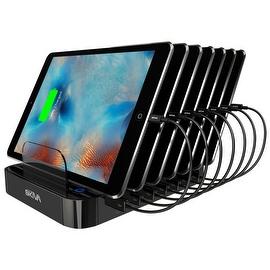 Skiva StandCharger (7-Port / 84W / 16.8A) Desktop USB Fast Charging Station Dock with '7units of Short (0.5ft) Lightning Cables'