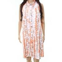 Alfani Orange Women's Size 4 Abstract Bubble Print Shirt Dress