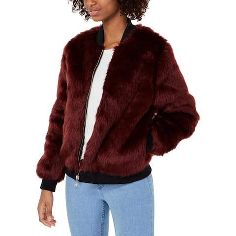 Say What? Womens Juniors Bomber Jacket Faux Fur Cropped - Burgundy