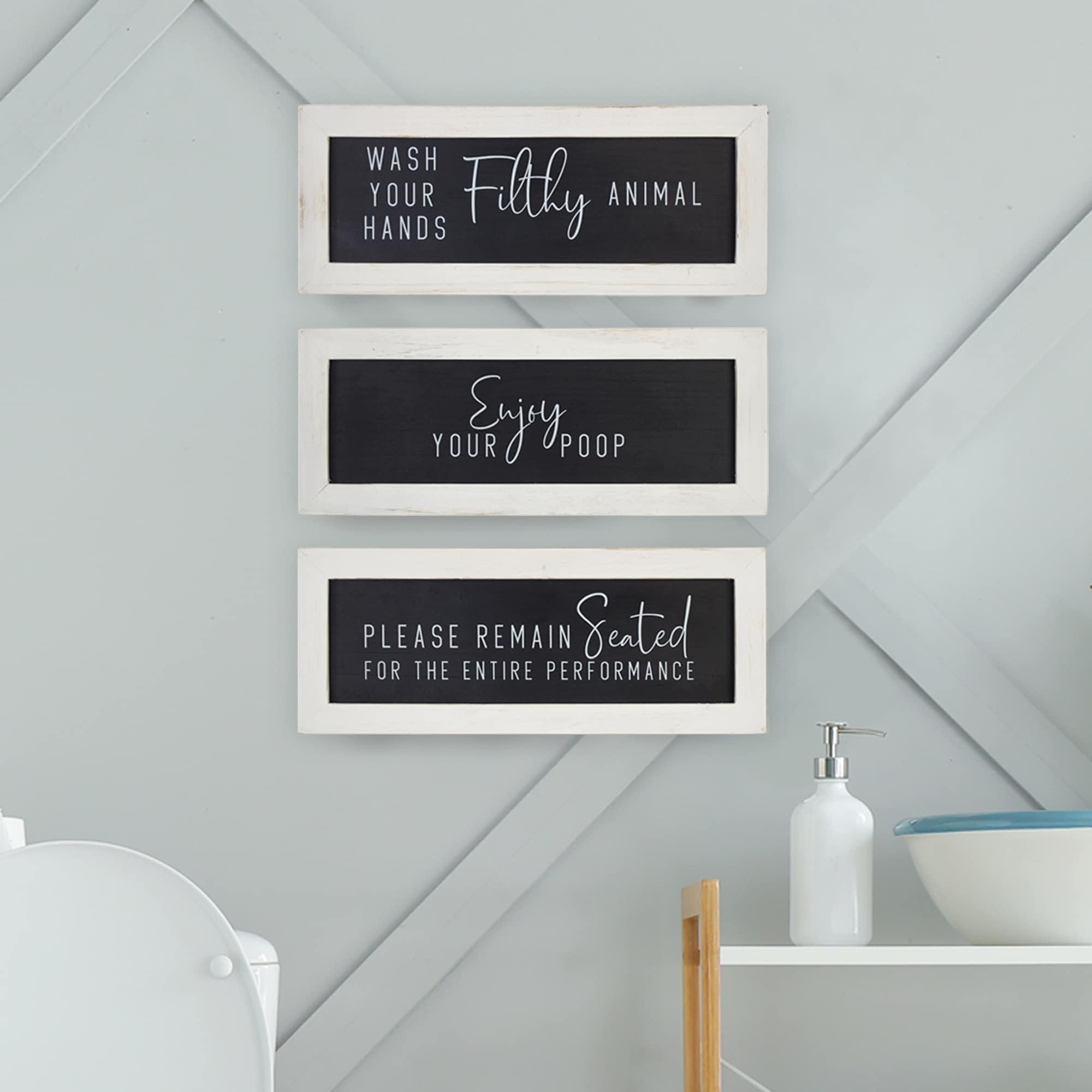 Stratton Home Decor Set Of 3 Bathroom Humor Wall Art 12 00 X 0 50 X 4 75 Overstock 31945451