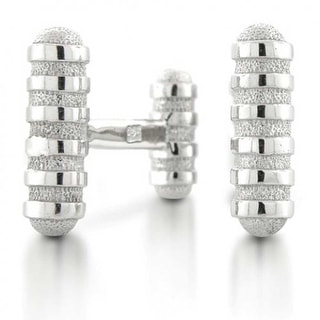 Bling Jewelry Mens 925 Sterling Silver Groove Design Modern Cufflinks