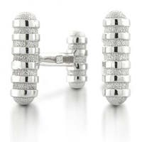 Bling Jewelry Mens 925 Sterling Silver Groove Design Modern Cufflinks