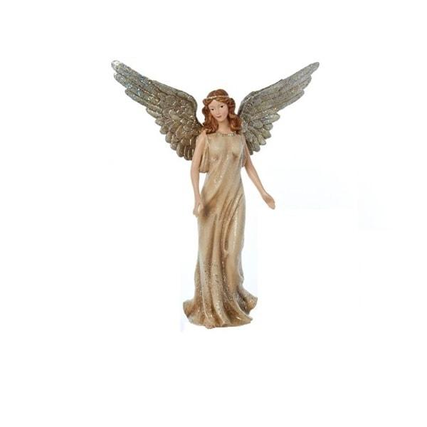 "12"" Winter's Glen Gold Glittered Champagne Angel Christmas Figurine"
