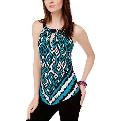 I-N-C Womens Keyhole Halter Blouse Top, Blue, Large