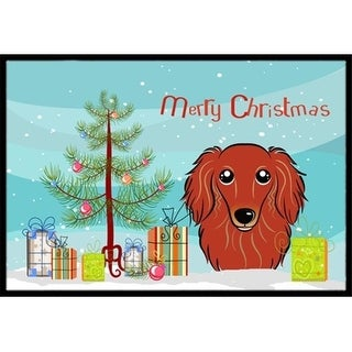 Carolines Treasures BB1586MAT Christmas Tree & Longhair Red Dachshund Indoor or Outdoor Mat 18 x 27