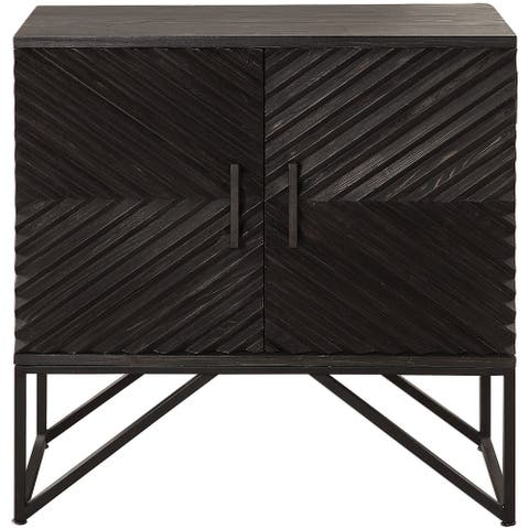"Uttermost 24840 Zadie 36-3/16"" Wide Iron and Fir Wood Accent Cabinet - Ebony"