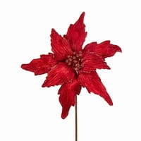 """Pack of 12 Deep Red Glitter Embellished Poinsettia Christmas Floral Craft Picks 20"""" - GOLD"""