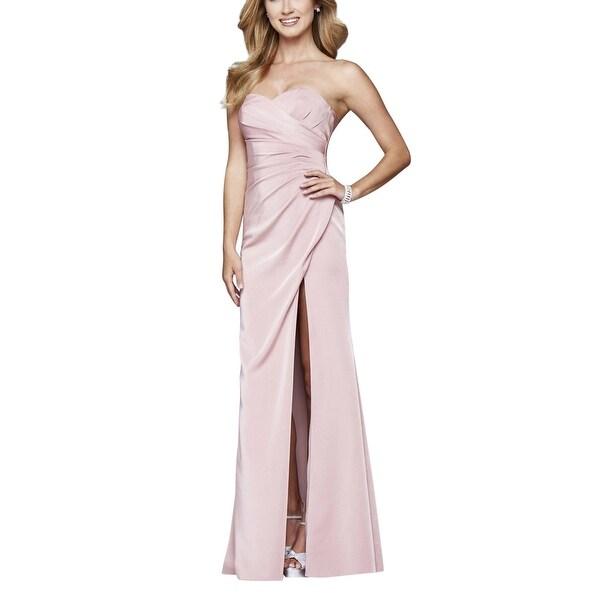 Faviana Dusty Pink Women Size 00 Sweetheart Ruched Side Slit Gown