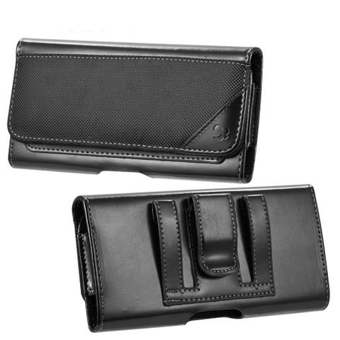 Leather Holster Cell Phone Card Case Moto G8 Play, Honor 8x, P30 Lite