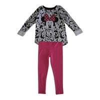 Disney Little Girls White Black Pink Minnie Mouse Print 2 Pc Pant Set